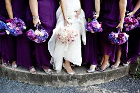 purple and blue wedding with bridesmaids show purple blue wedding flowers