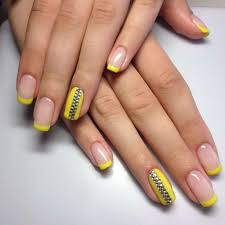 yellow french nail art with rhinestones one1lady com nail