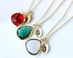 Custom Birthstone Necklaces Birthstone Jewelry Etsy