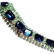 vintage large sapphire blue rectangular glass rhinestone wide