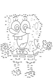 spongebob dot to dot free printable coloring pages
