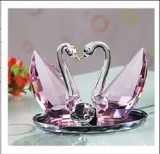 Wedding Gift Decoration China Pink Crystal Swan Set For Wedding Gifts Decoration Ks03045