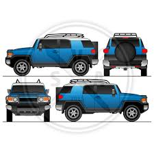 fj cruiser vehicle wrap template stock vector art