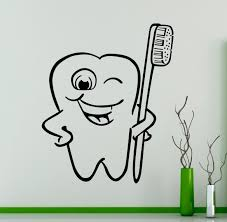 tooth with toothbrush wall decal dental vinyl sticker wall art