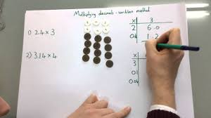 multiplying decimals using place value counters and the grid