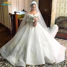 unique wedding dresses 2017 ball gown puffy vintage lace long