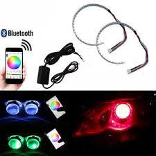 ring light effect app 2pcs rgb led demon eye halo ring headlight bt app remote control