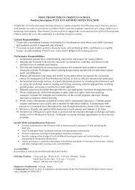 Preschool Teacher Resume Job Duties Of Teacher Resume Cv Cover Letter