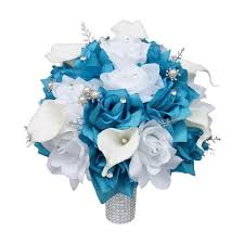 teal flowers colorful artificial flower wedding bouquet corsage silk flower