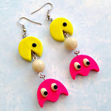 pacman earrings polymer clay auryn from the neverending story geeky diy b