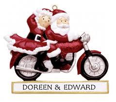 personalised ornament santa on motorbike