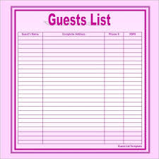 invite list template guest list templates 9 free word pdf
