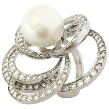 pearl engagement rings pearl diamond gold chanel camelia ring at 1stdibs