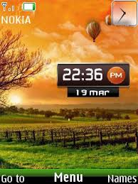 clock themes for android mobile download nature sunset clock nokia theme mobile toones