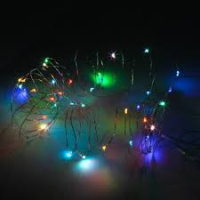 5m battery operated colorful silver wire string multi color led