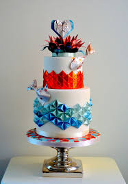 Origami Wedding Cake - wedding cake with koi fish and origami cake by taart en deco