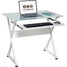 Buy Glass Computer Desk Onespace Ultramodern Glass Computer Desk With Pull