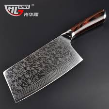 laser kitchen knives high quality laser damascus pattern kitchen knife imported handle