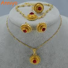 ring bracelet necklace images Anniyo ethiopian wedding jewelry set pendant necklace earrings jpg