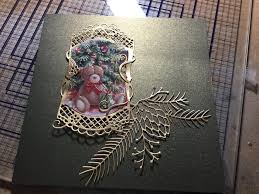 recycled christmas cards using tonic and memory box dies green