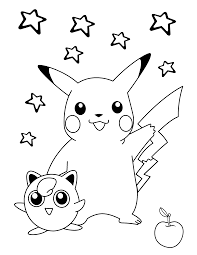 pokemon coloring pages pikachu and jigglypuff coloringstar