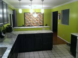 lime green walls with two tones gray and black cabinets sweet