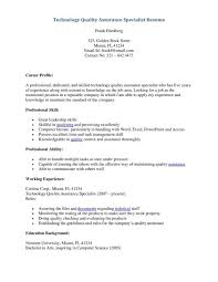 Quality Assurance Specialist Resume Cover Letter Administrative Specialist Resume Administrative