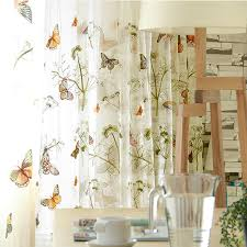Embroidered Sheer Curtains Green Butterfly Embroidered Sheer Curtains