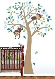 monkey wall decor for nursery trees swirling wall decals baby