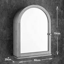 solid oak wall mounted single door arch top mirror bathroom cabinet