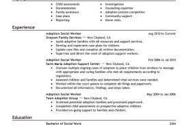 adoption social worker sample resume social work resume samples