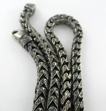 white chain necklace images Gold 10kt solid white chain men 1656 blue diamonds 30 carat 187 jpg