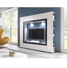 Wohnzimmerschrank Verschieben Mediawand Novel In Weiß Hochglanz Mit Bluetooth Rgb Led Anbauwand