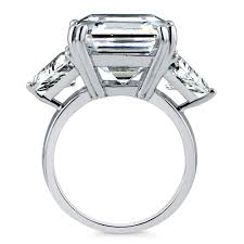 sterling silver asscher cubic zirconia cz 3 stone engagement ring
