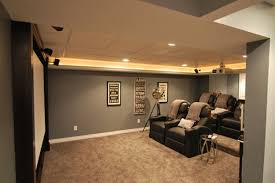 amazing grey painted wall color scheme small basement idea black