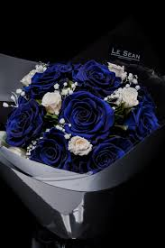 white blue roses bouquet blue roses with white spray roses