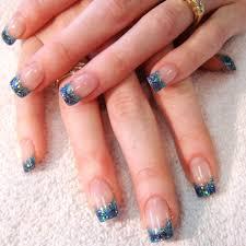 blue glitter french manicure