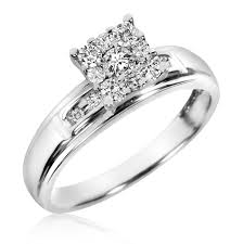 1 Carat Cushion Cut Engagement Ring 1 2 Ct T W Diamond Trio Matching Wedding Ring Set 10k White Gold