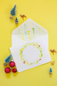diy watercolor holiday cards envelope liners lovely indeed