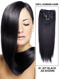 remy human hair extensions jet black 1 silky clip in deluxe indian remy human hair