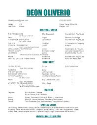 Examples Of Acting Resumes by Useful Musical Audition Resume Format With Additional Free Acting