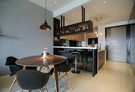 modern and sleek designed condominium open kitchen and dining