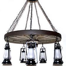 wagon wheel light fixture copper canyon old colorado wagon wheel 7 light lantern chandelier