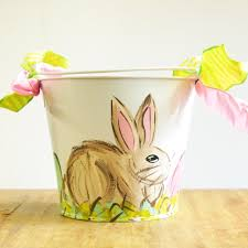 easter pail painted girl rabbit easter pail ms made foods gifts and