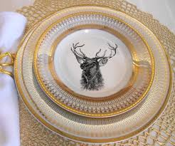 personalized dinnerware gold deer reindeer plates dinnerware dishes customized