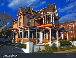 colorful victorianstyle house cape may new stock photo 133995011