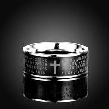 wholesale trendy stainless steel letter black ring for men sstr074