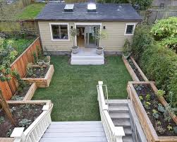 small homes with plants in yard made from wood and cement garden