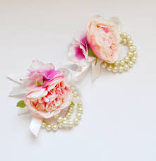 pink corsages for prom blush pink cabbage wrist corsage pearl bracelets wedding