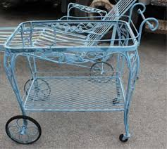 Wrought Iron Patio Chaise Lounge Tea Cart Vintage By Woodard Sold Vintage Wrought Iron Patio